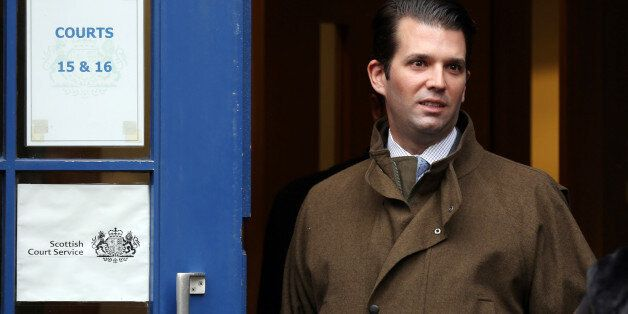 Donald Trump Jr departs the Court of Session in Edinburgh as lawyers acting for his father US billionaire...