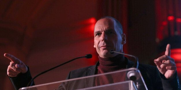 Greece's former Finance Minister Yanis Varoufakis speaks at a Trade Union Co-ordinating Group event in...
