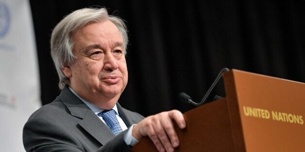 United Nations Secretary General Antonio Guterres looks on as he attends a press conference during Cyprus...