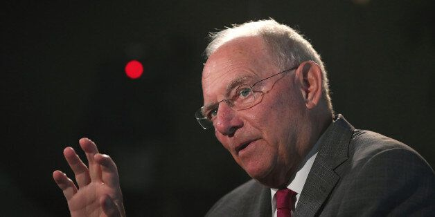 Wolfgang Schaeuble, Germany's finance minister, speaks during a Bloomberg Television interview at a Bloomberg...