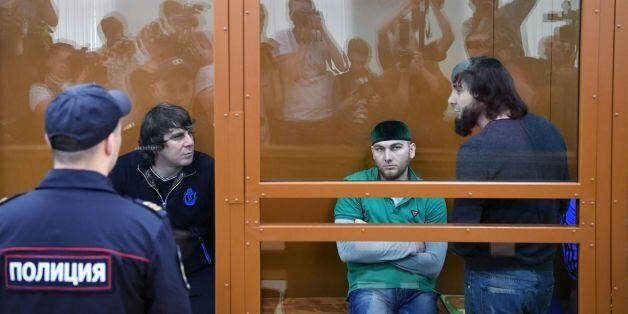 From L: Temirlan Eskerkhanov, Shadid Gubashev and Zaur Dadayev, charged with masterminding and carrying...