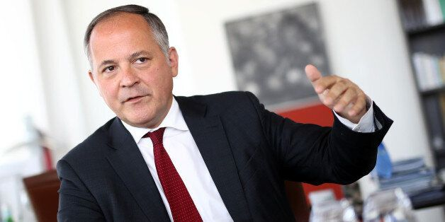 Benoit Coeure, board member of the European Central Bank (ECB), is photographed during an interview with...
