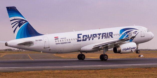 Nairobi, Kenya – September 11, 2015: An EgyptAir Airbus A320 rotates off the runway at Jomo Kenyatta...