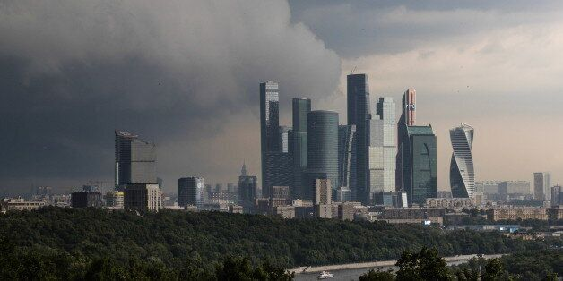 MOSCOW, RUSSIA - JUNE 30, 2017: Storm clouds seen over the Moscow International Business Centre (MIBC,...