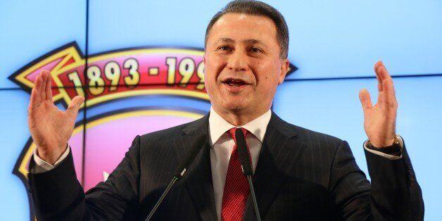 SKOPJE, MACEDONIA - DECEMBER 12: Macedonia's former prime minister and leader of the ruling VMRO DPMNE...