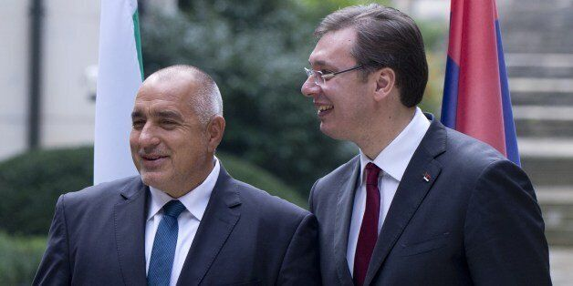 Romanian Prime Minister Victor Ponta (L) chats with Bulgarian Prime minister Boyko Borisov (C) and Serbian...