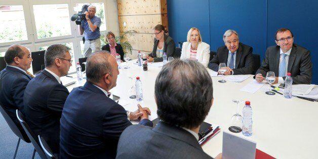 CRANS-MONTANA, SWITZERLAND - JULY 06: Foreign Affairs Minister of Turkey Mevlut Cavusoglu (3rd L) meets...