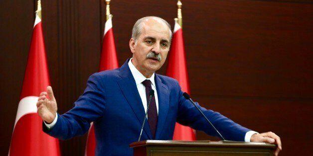 ANKARA, TURKEY - JULY 3: Turkish Deputy Prime Minister and government spokesperson Numan Kurtulmus gives...