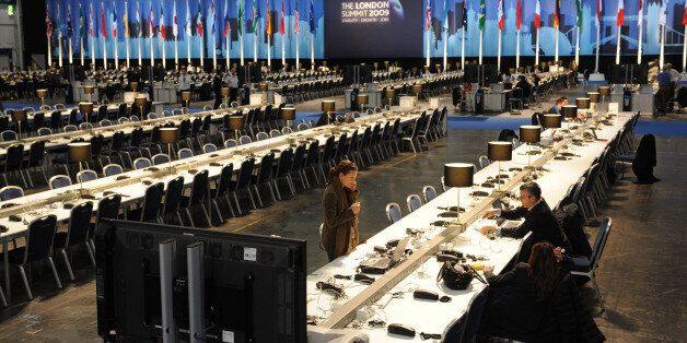 Journalists at work in the Excel conference centre in east London where world leaders are gathered for...