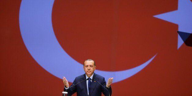 ISTANBUL, TURKEY - JULY 10: Turkish President Recep Tayyip Erdogan delivers a speech during 22nd World...