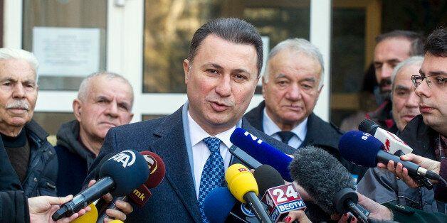 Macedonia's former prime minister and leader of the ruling VMRO DPMNE Nikola Gruevski speaks to the press...