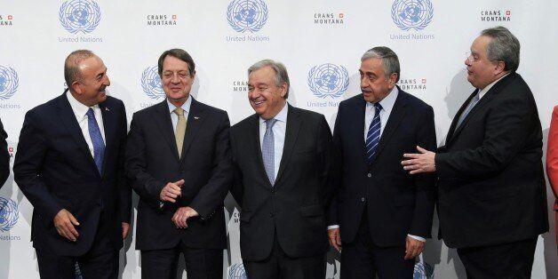 CRANS-MONTANA, SWITZERLAND - JULY 06: Foreign Affairs Minister of Turkey Mevlut Cavusoglu (L), UN General...