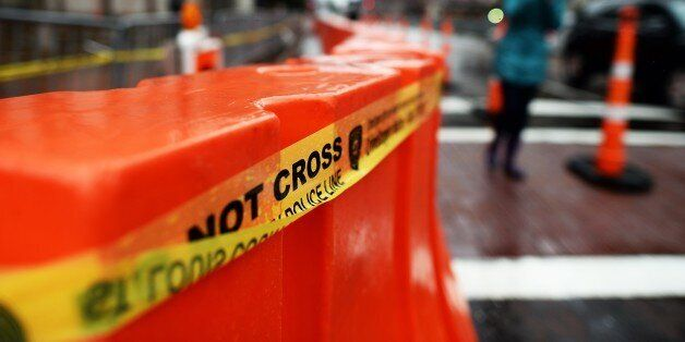 Police barricades around the Buzz Westfall Justice Center in Clayton, Missouri, on November 23, 2014...