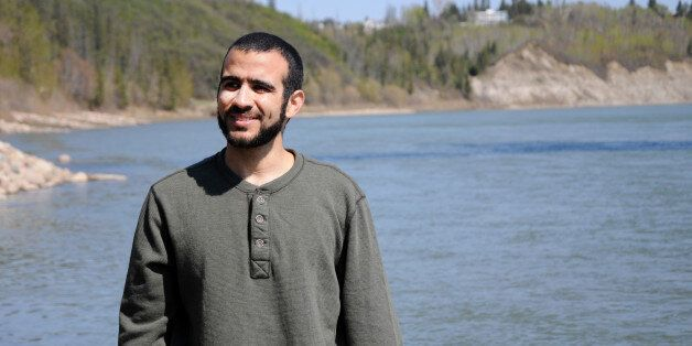 EDMONTON, AB - MAY 9: Omar Khadr stops near the North Saskatchewan river during his first long walk and...