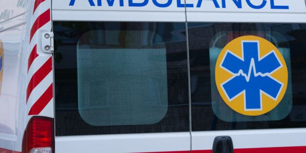 The back door of the ambulance. The word
