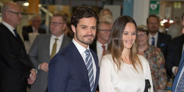 VARMLAND, SWEDEN - OCTOBER 21: Prince Carl Philip and Princess Sofia arrive at the company SOMA during...
