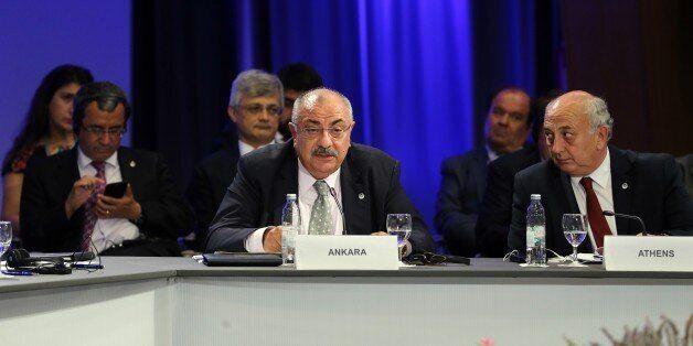 ZAGREB, CROATIA - JUNE 30: Vice Prime Minister of Turkey Tugrul Turkes (C) speaks during the 21st Southeast...
