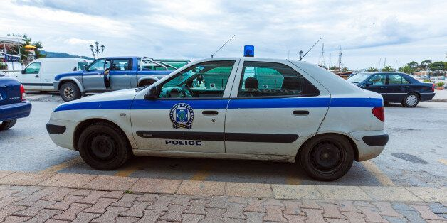 NEOS MARMARAS, GREECE - JUNE 13, 2009: Traditional police car at city