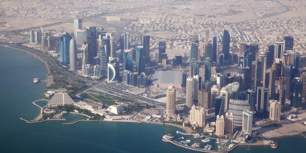 Aerial view on Doha - capital city of