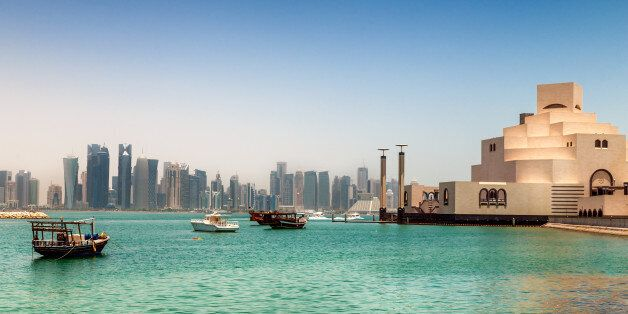 Skyline of Doha, Qatar. On the right the museum of islamic