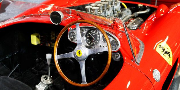 PARIS, FRANCE - FEBRUARY 02:  The dashboard of the Ferrari 335 S Spider Scaglietti from the Pierre Bardinon collection is displayed for auction during the Retromobile show on February 02, 2016 in Paris, France. The car is manufactured by Ferrari workshops in early 1957 and is dressed with a Scaglietti bodywork. It is equipped with a Tipo 140 V12 (315 S) 3.8-liter twin overhead camshafts per cylinder, developing some 360 bhp. This car is estimated between 28 and 32 Millions euros / 30 and 34 Mill