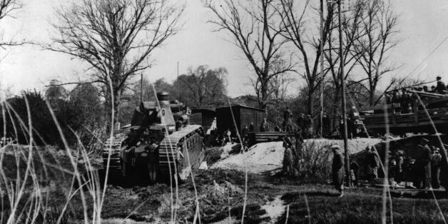 1st February 1940: A French Char 2C heavy tank about to cross a stream in the French War zone. (Photo...
