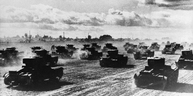 Russian tanks roll towards the battle front on June 22, 1941 to defend Soviet territory from German troops....