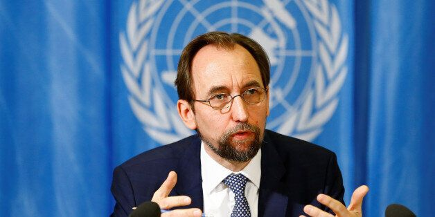 United Nations High Commissioner for Human Rights Zeid Ra'ad al-Hussein of Jordan speaks during a news...