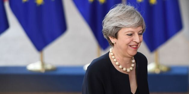 Britain's Prime Minister Theresa May arrives at the Europa Building, the main headquarters of European...