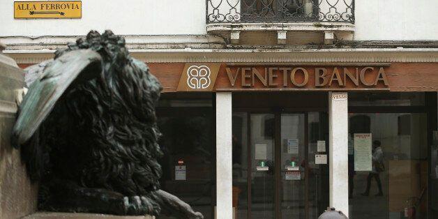The logo of Veneto Banca bank is seen in Venice, Italy, January 31 2016. REUTERS/Alessandro