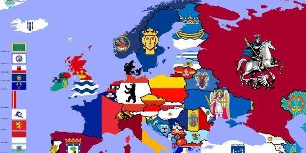 Ένας υπέροχος, πολύχρωμος χάρτης της Ευρώπης φτιαγμένος από τις σημαίες της πρωτεύουσας κάθε