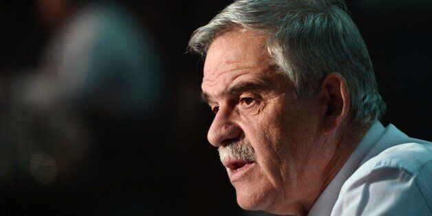 Greek Deputy Minister of Public Order and Citizen Protection Nikos Toskas speaks during an interview...