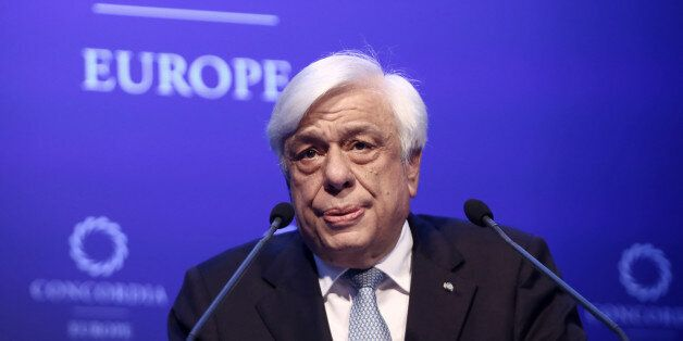 President of the Hellenic Republic Prokopios Pavlopoulos delivers a speech at the opening of the Concordia...