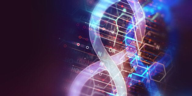 dna molecules on abstract technology background , concept of biochemistriy and genetic