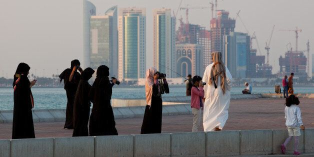 DOHA, QATAR - DECEMBER 21: New high-rise office buildings and hotels, some of them still under construction,...