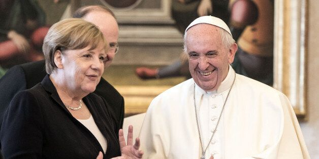 VATICAN CITY, VATICAN - JUNE 17: Pope Francis meets German Chancellor Angela Merkel at his private library...