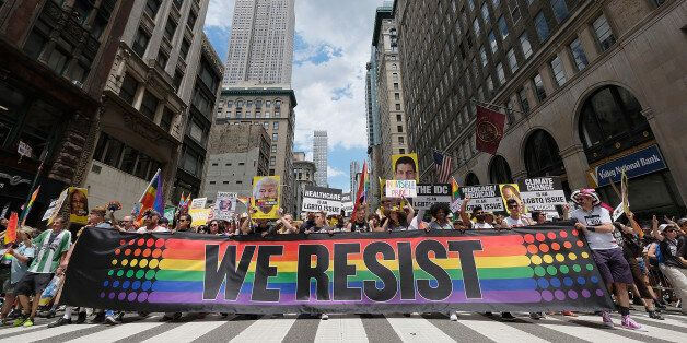 NEW YORK, NY - JUNE 25: A general view during the New York City Gay Pride 2017 march on June 25, 2017...