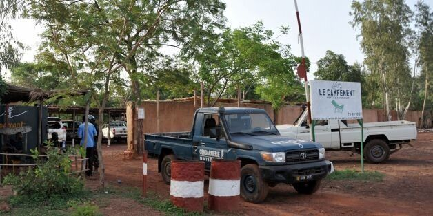 A vehicle of the gendarmarie is parked at the entrance to the Kangaba tourist resort in Bamako on June...