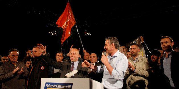 Ramush Haradinaj, candidate for prime minister and Kadri Veseli, the head of Democratic Party of Kosovo...