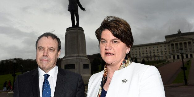Leader of the Democratic Unionist Party (DUP) Arlene Foster and Deputy leader of the DUP Nigel Dodds...