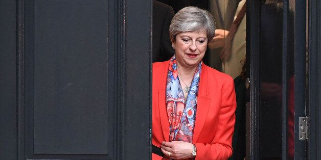 LONDON, ENGLAND - JUNE 09: British Prime Minister Theresa May leaves Conservative Party Headquaters on...