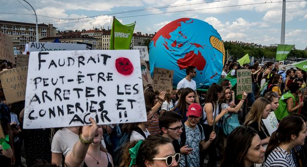 Une manifestation contre les changements climatiques à Lyon, en France, en mai