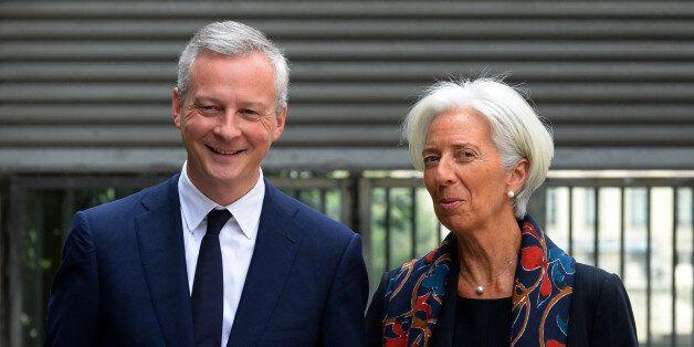 French Economy Minister Bruno Le Maire greets International Monetary Fund (IMF) Managing Director Christine...