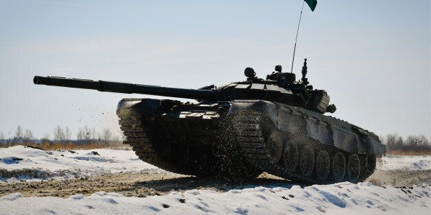 KHABAROVSK TERRITORY, RUSSIA - MARCH 12, 2017: A T-72B tank during an individual tank race in the Russian...