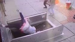Βίντεο: Πεζή, απορροφημένη στο κινητό της πέφτει μέσα σε καταπακτή και τραυματίζεται