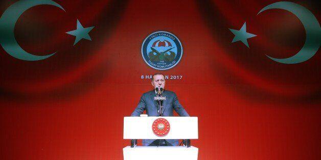 KAYSERI, TURKEY - JUNE 8: Turkish President Recep Tayyip Erdogan delivers a speech during his Iftar (fast...