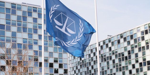 The Hague, Netherlands - March 27, 2016: The flag and the International Criminal Court at the new 2015...