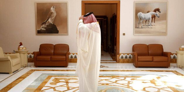 Palace staff member waits to escort U.S. Defense Secretary James Mattis to meet with Qatar's Emir Sheikh...