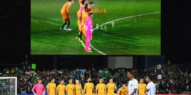 ADELAIDE, AUSTRALIA - JUNE 08: Socceroos players observe a minutes silence prior to the 2018 FIFA World...