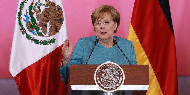 Angela Merkel, Germany's chancellor, speaks during a joint press conference with Enrique Pena Nieto,...